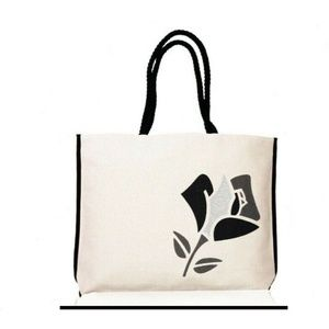 Lancôme Black Flower Summer Canvas Tote